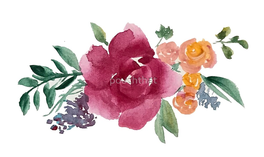 Watercolour flowers by pouchthat
