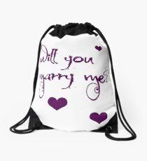 marriage proposal Drawstring Bag