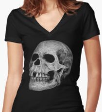 Fractal Skull Women's Fitted V-Neck T-Shirt