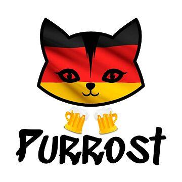 Oktoberfest Funny Prost Pun Purrost Cat by CreativeStrike