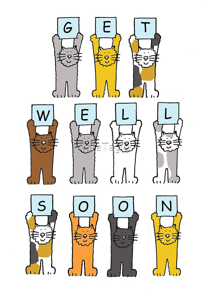Cartoon Cats Get Well Soon. by KateTaylor