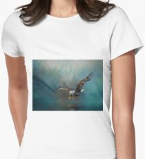 Eagle swooping for fish Women's Fitted T-Shirt