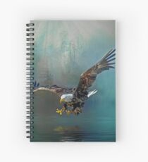Eagle swooping for fish Spiral Notebook