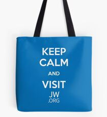 Keep Calm and Visit JW.org (Blue Background) Tote Bag