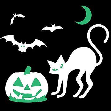 Spooky Halloween Ghosts of Cat Pumpkin Bat Moon Scene by BlackCoffeeCake