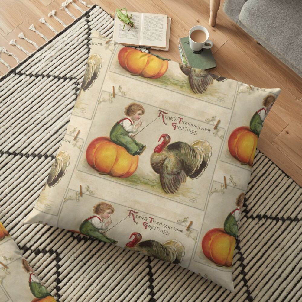 Adorable Child Sitting on a Thanksgiving Pumpkin Tempting a Tom Turkey Floor Pillow