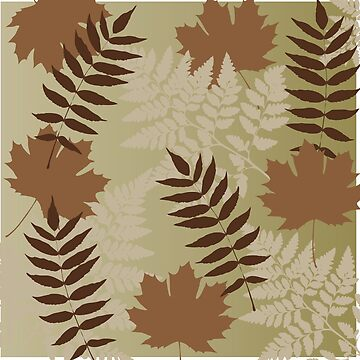 Beautiful Outdoors Brown Leaf Pattern Design by CreativeTwins