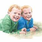 little brothers watercolor by Mike Theuer