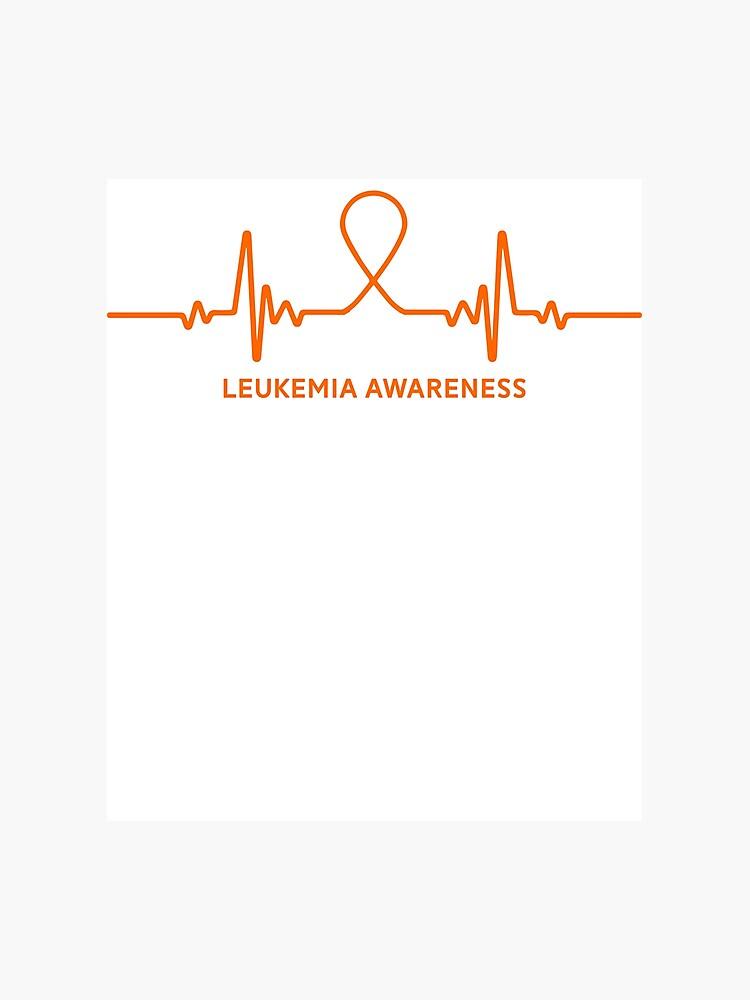 82f4b38ff2 Leukemia Awareness Ribbon Heartbeat T-Shirt Tee Gift Photographic Print