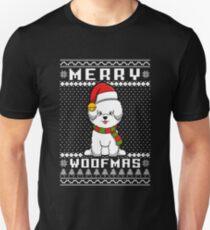 Bichon Frise Dog Merry Woofmas T-Shirt, Christmas Gift Unisex T-Shirt