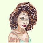 portrait of a women with curly hair by jackpoint23