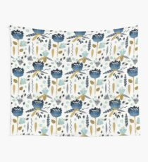 Blue and yellow floral watercolor Wall Tapestry