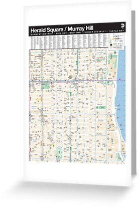 Murray Hill Nyc Map.New York City Herald Square Murray Hill Map Hd Greeting Cards
