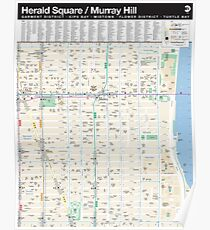 Póster Nueva York - Mapa de Herald Square / Murray Hill - HD