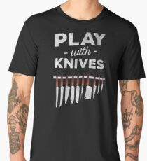 Plays with knives chef cooking t shirt Men's Premium T-Shirt