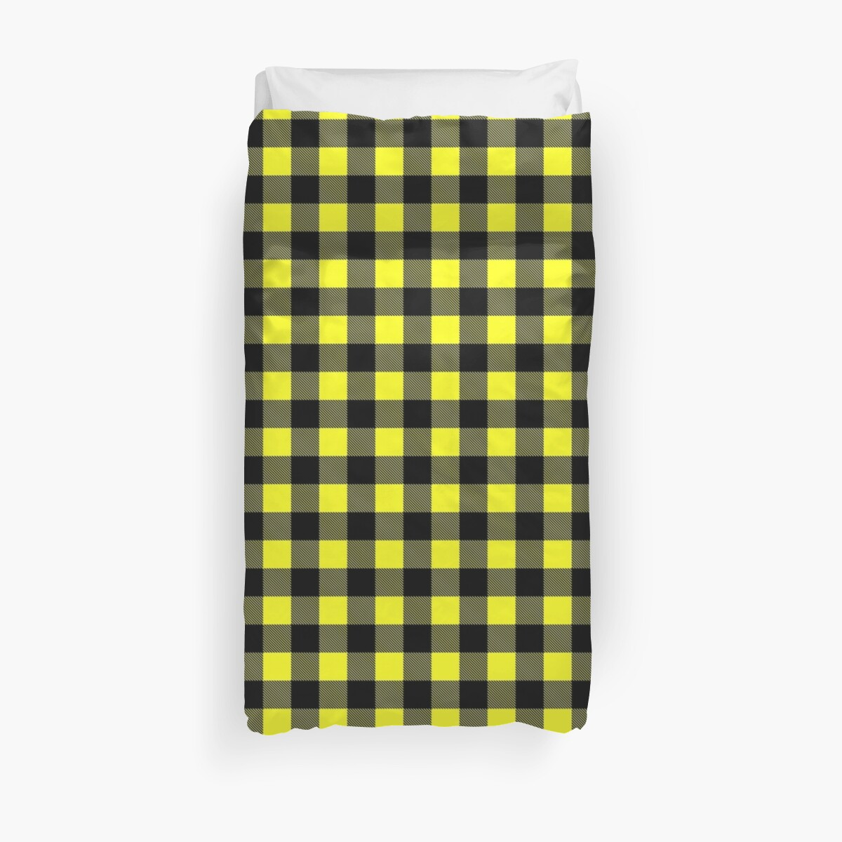 Quot Buffalo Plaid In Yellow And Black Quot Duvet Covers By