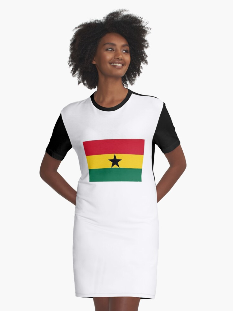 'Flag of Ghana, Ghanaian Flag, African Flags' Graphic T-Shirt Dress by TOM  HILL - Designer