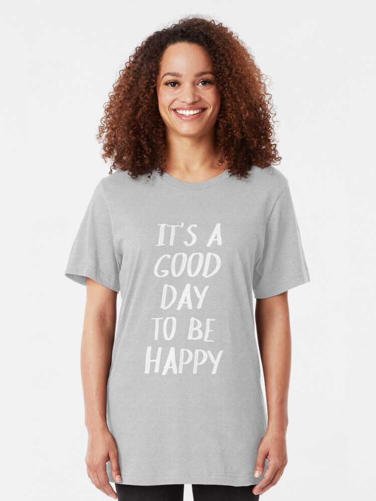 Alternate view of It's a Good Day to Be Happy in Yellow Slim Fit T-Shirt