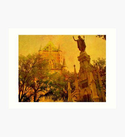Chateau Frontenac, Quebec City   & Statue    Art Print