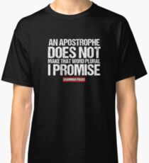 Camiseta clásica Apostrophe Make Word Plural English Grammar Teacher camiseta