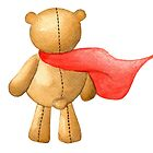 Watercolor Super Teddy Illustration by Pip Gerard