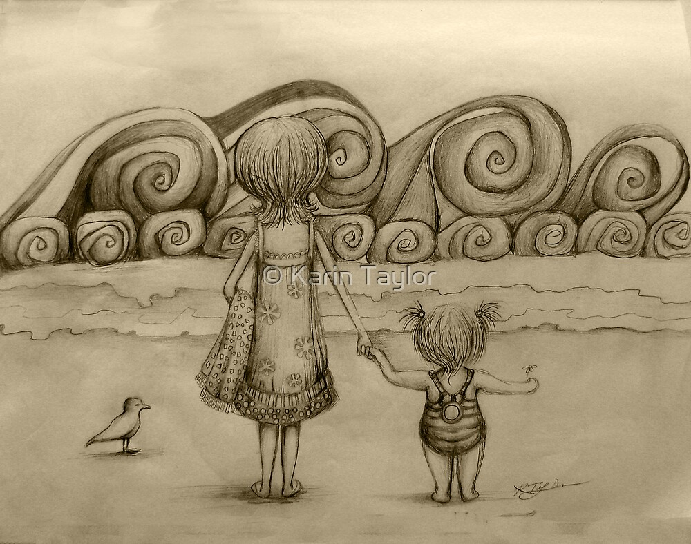 Beachcombers drawing by © Karin Taylor