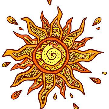 Boho style orange sun by 1enchik