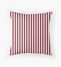Deep Red Pear and White Thin Vertical Deck Chair Stripe Throw Pillow