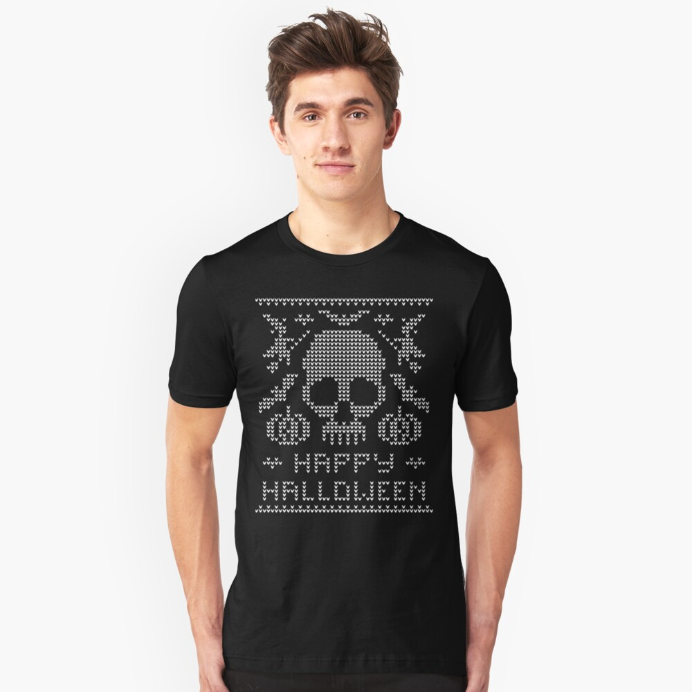 Ugly Halloween Design with Skull Witch Bat Unisex T-Shirt Front