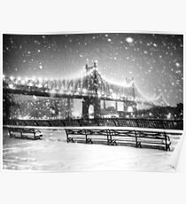 New York City - Snowy Night Poster