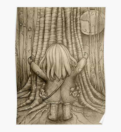 Tree Hugs drawing Poster