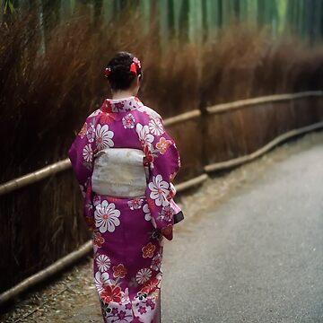 Young Japanese woman in kimino walking along Arashiyama bamboo forest in Kyoto art photo print by AwenArtPrints