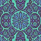 Poppy Pods Abstract Floral Mandala Mint and Purple by clipsocallipso