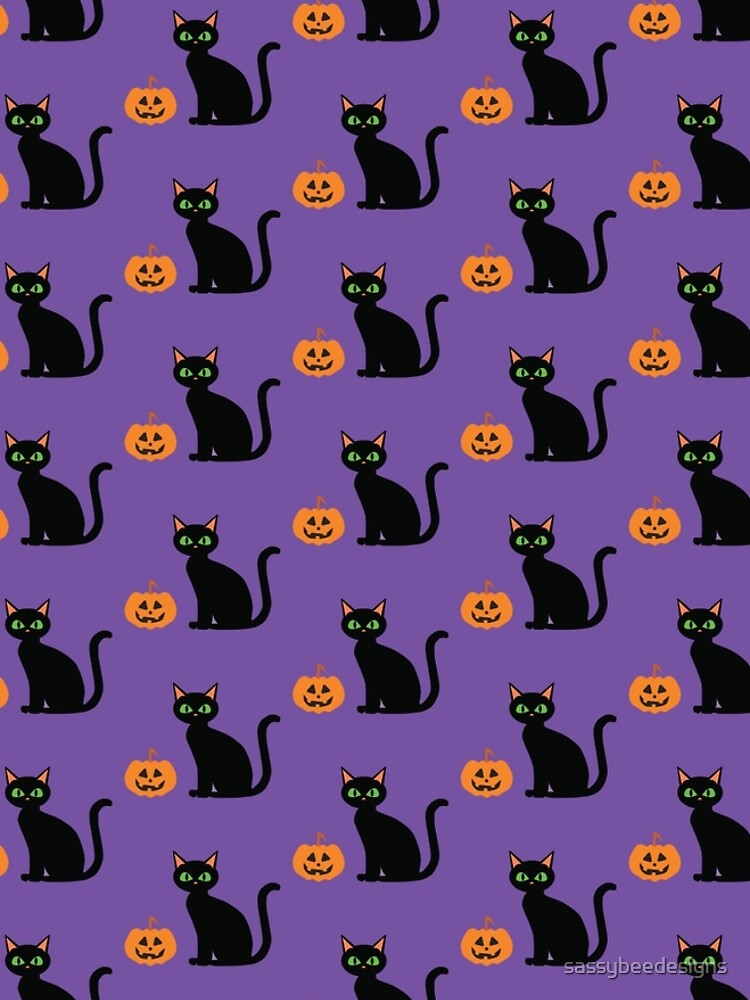 Halloween Black Cat and Pumpkin by sassybeedesigns