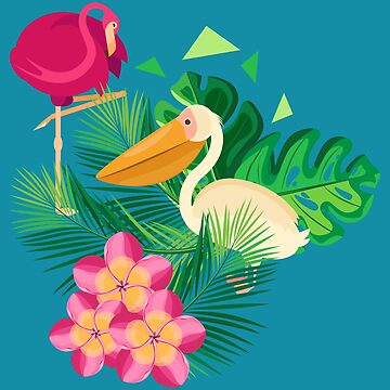 Pelicans and flamingos in the tropics by IrinkaArt