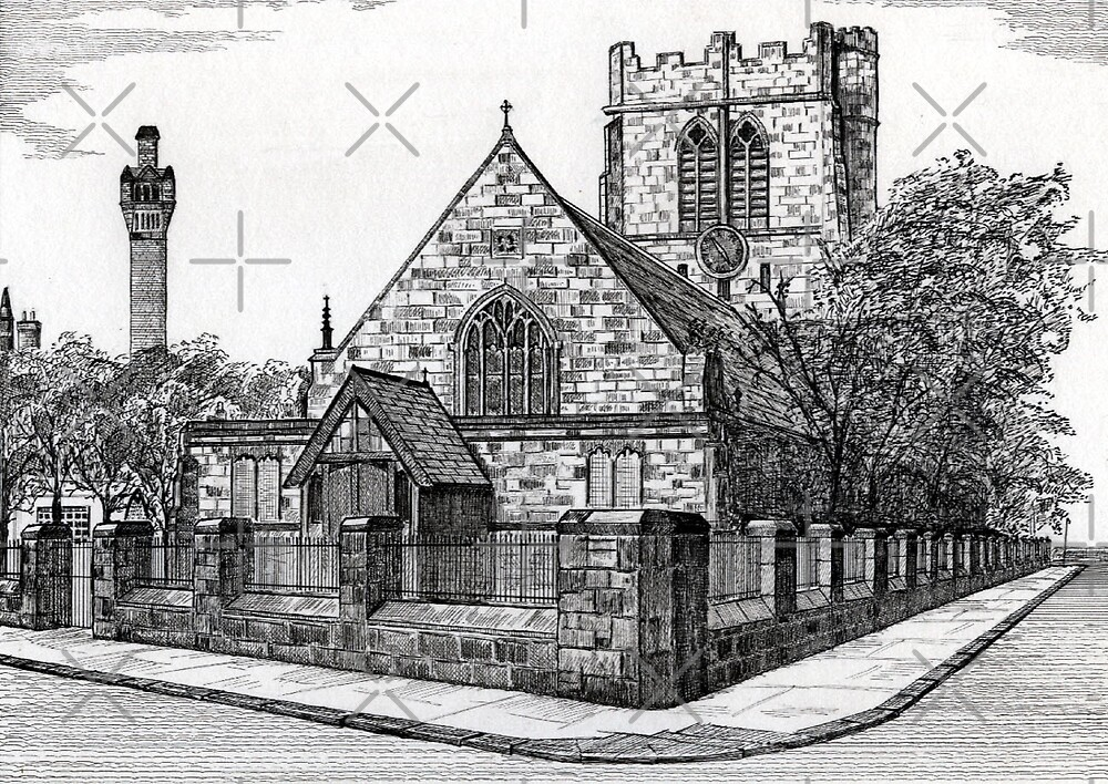 182 - ST. CUTHBERT'S CHURCH, BLYTH - DAVE EDWARDS - INK - 1991 by BLYTHART