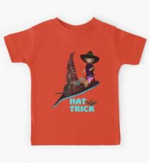 Hat Trick  .. A cute witch and black cat Kids Tee