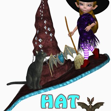 Hat Trick  .. A cute witch and black cat by LoneAngel