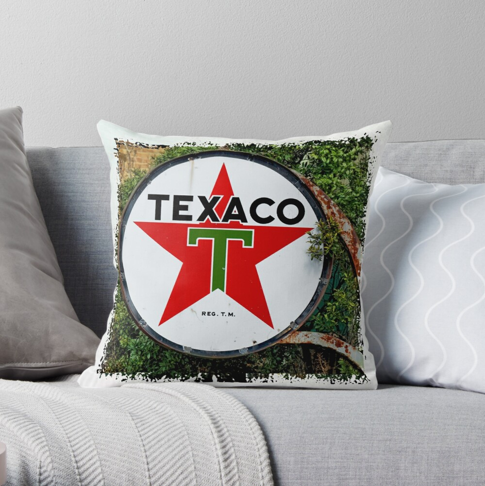 Round Texaco Sign Throw Pillow