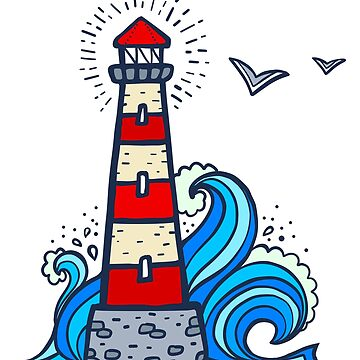 Doodle style white and red lighthouse with blue wave by 1enchik