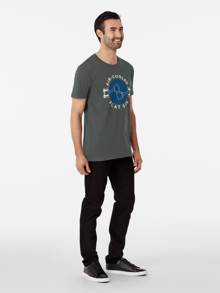 Alternate view of Air-Cooled Flat Six - Blue Premium T-Shirt
