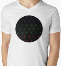 Flower Dot Pattern in Jewel on Black Men's V-Neck T-Shirt