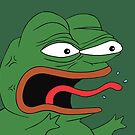 Pepe The Frog Mad Angry Raging and screaming REE with tongue out Rare PepeTheFrog from Kekistan green background by iresist