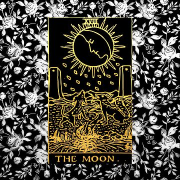 Floral tarot print - The Moon by annaleebeer