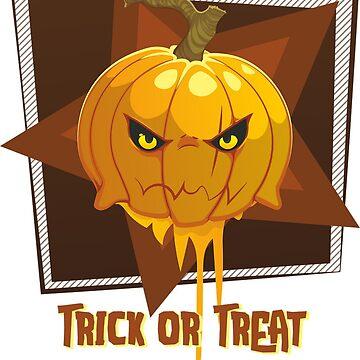 Angry Pumpkin Says Trick or Treat by CeeGunn