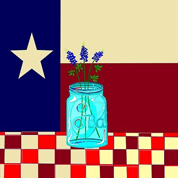 Texas State Flower and Texas Flag Vintage by judysnyder