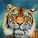 Tiger Portrait Miniature Painting  by Margaret Stockdale