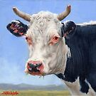 Portrait of a Cow Mini Painting  by Margaret Stockdale