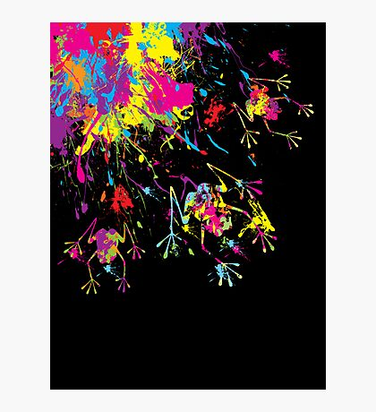 Rainbow Splashing Frogs Photographic Print