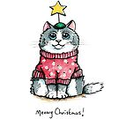 Meowy Christmas Cat Red Jumper by Lisa Marie Robinson
